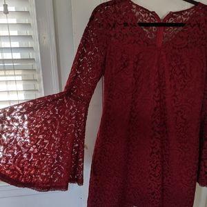 Garnet flare sleeve lace dress